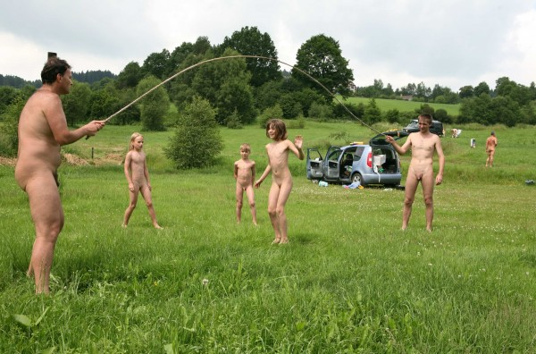 Pure Nudism Family Outdoors Fields